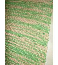Vászon rongyszőnyeg barna, zöld 75 x 150 cm