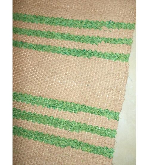 Vászon rongyszőnyeg barna, zöld 75 x 160 cm
