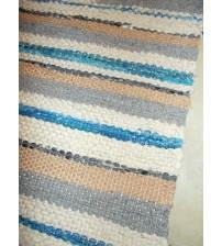 Vászon rongyszőnyeg barna, szürke, kék 75 x 160 cm