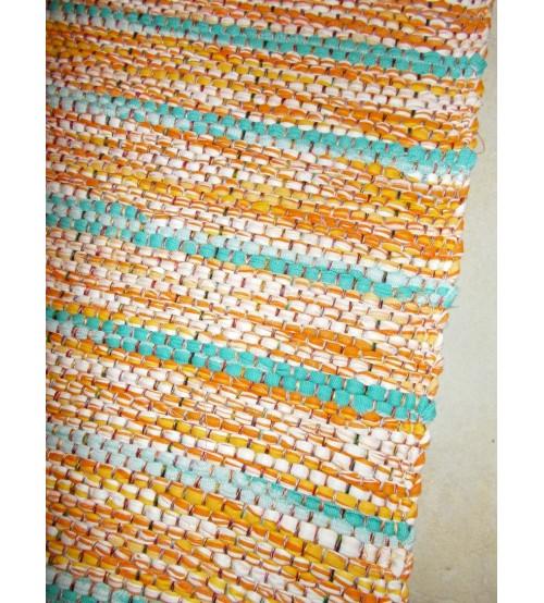 Vászon rongyszőnyeg sárga, kék, fehér 70 x 100 cm