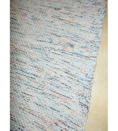 Vászon rongyszőnyeg kék, piros, fekete, fehér 70 x 150 cm