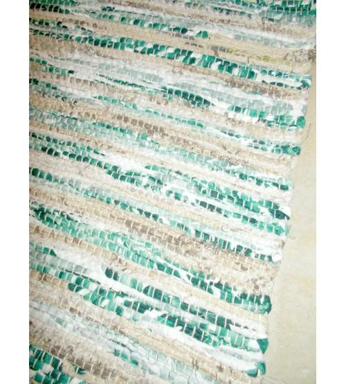 Vászon rongyszőnyeg zöld, barna 70 x 200 cm