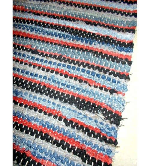 Vászon rongyszőnyeg kék, szürke, piros, fekete 70 x 195 cm
