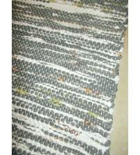 Vászon rongyszőnyeg szürke, fehér, zöld 75 x 100 cm
