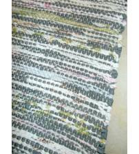 Vászon rongyszőnyeg szürke, fehér, zöld 75 x 150 cm