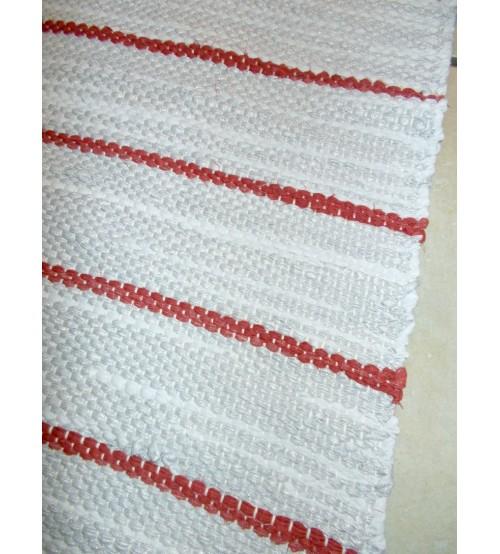 Vászon rongyszőnyeg szürke, piros 70 x 130 cm