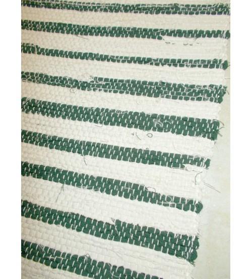 Vászon rongyszőnyeg nyers, zöld 70 x 150 cm