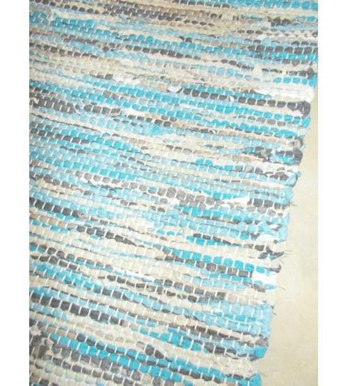 Vászon rongyszőnyeg kék, szürke, nyers 70 x 155 cm
