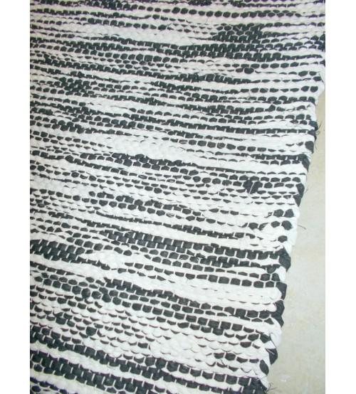 Vászon rongyszőnyeg fekete, fehér 75 x 155 cm