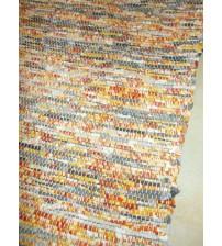 Vászon rongyszőnyeg sárga, szürke 70 x 155 cm
