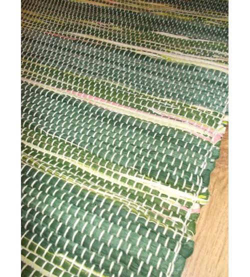 Vászon rongyszőnyeg zöld, rózsaszín 75 x 100 cm
