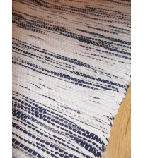 Vászon rongyszőnyeg kék, fehér 70 x 150 cm
