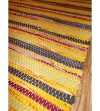 Vászon rongyszőnyeg sárga, szürke, bordó 70 x 200 cm