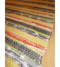 Vászon rongyszőnyeg sárga, szürke, piros, zöld 70 x 150 cm