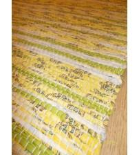 Vászon rongyszőnyeg sárga, zöld 70 x 150 cm