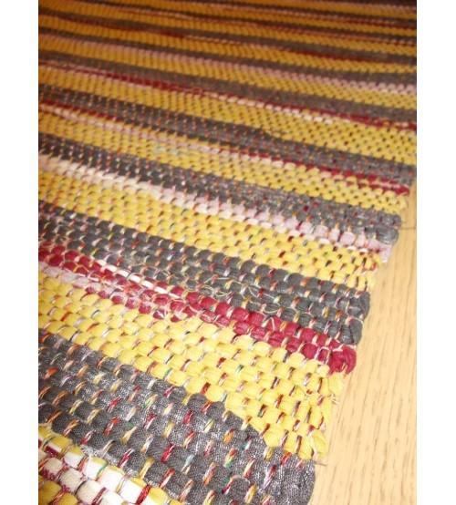 Vászon rongyszőnyeg szürke, sárga, bordó 70 x 150 cm