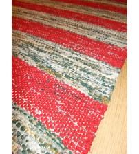 Vászon rongyszőnyeg piros, zöld 75 x 175 cm