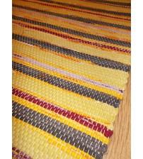 Vászon rongyszőnyeg sárga, szürke, bordó 70 x 100 cm