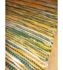 Vászon rongyszőnyeg zöld, sárga 75 x 100 cm