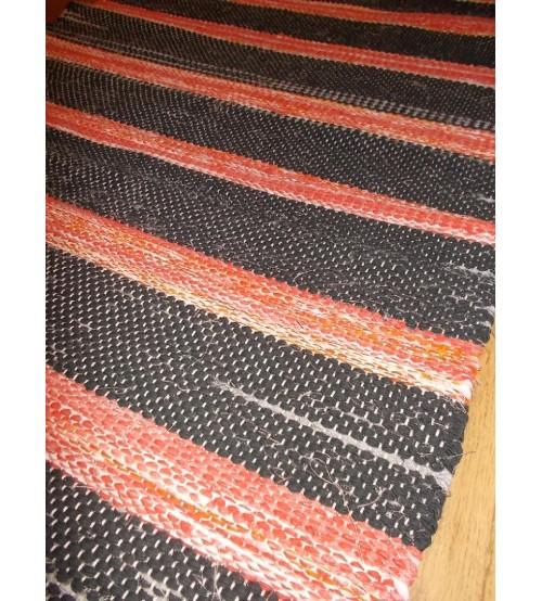 Vászon rongyszőnyeg szürke, piros 75 x 185 cm