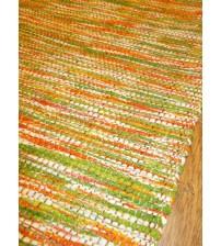 Vászon rongyszőnyeg zöld, sárga, fehér 70 x 150 cm