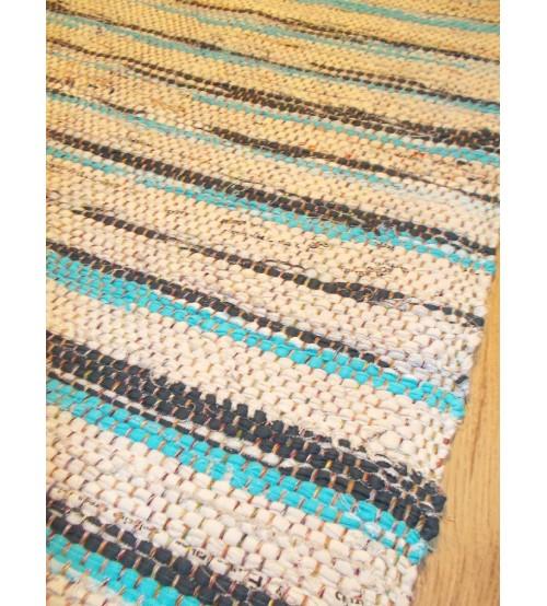 Vászon rongyszőnyeg nyers, kék 70 x 100 cm