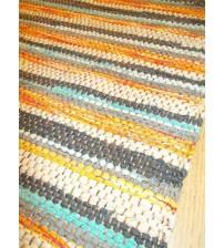 Vászon rongyszőnyeg sárga, szürke, barna, kék 70 x 200 cm