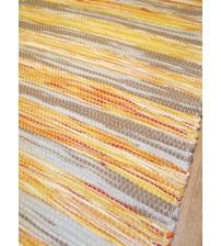 Vászon rongyszőnyeg barna, sárga 60 x 100 cm