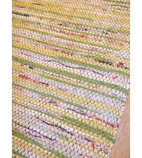 Vászon rongyszőnyeg sárga, barna, zöld 70 x 100 cm