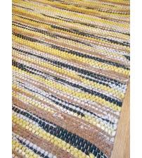 Vászon rongyszőnyeg sárga, barna, szürke 70 x 100 cm