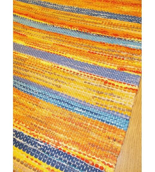 Vászon rongyszőnyeg sárga, kék 70 x 170 cm