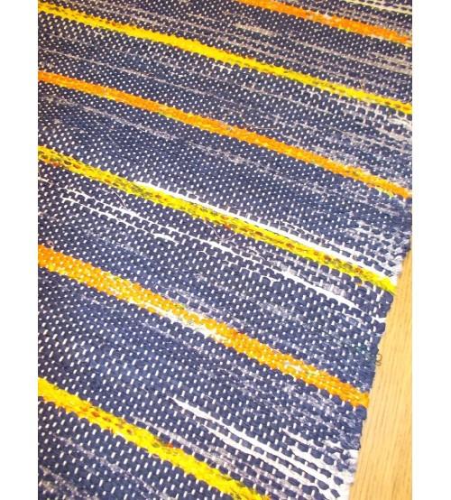 Vászon rongyszőnyeg kék, sárga 70 x 160 cm