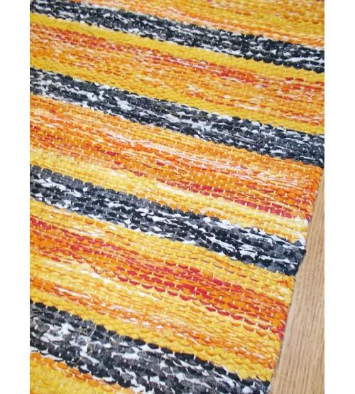 Vászon rongyszőnyeg sárga, szürke 70 x 110 cm