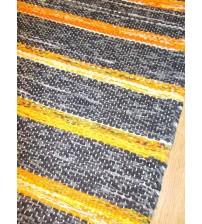 Vászon rongyszőnyeg szürke, sárga 75 x 170 cm