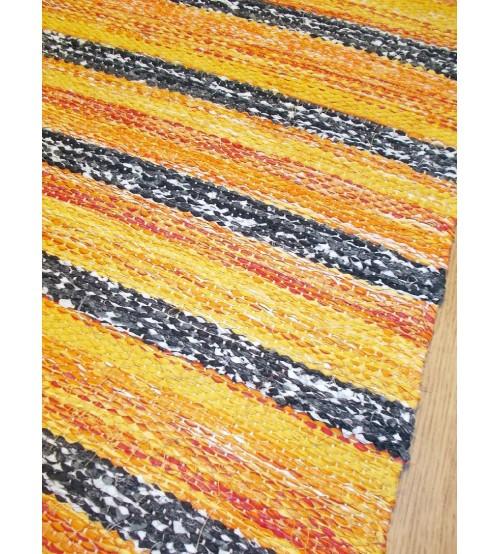 Vászon rongyszőnyeg sárga, szürke 75 x 170 cm