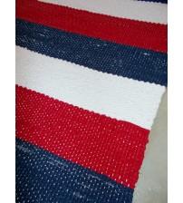 Vászon rongyszőnyeg piros, kék, fehér 70 x 115 cm