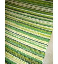 Vászon rongyszőnyeg zöld 85 x 180 cm