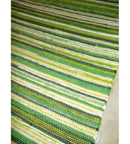 Vászon rongyszőnyeg zöld 85 x 185 cm