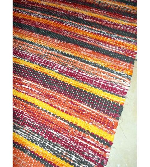Vászon rongyszőnyeg bordó, sárga, szürke 75 x 180 cm