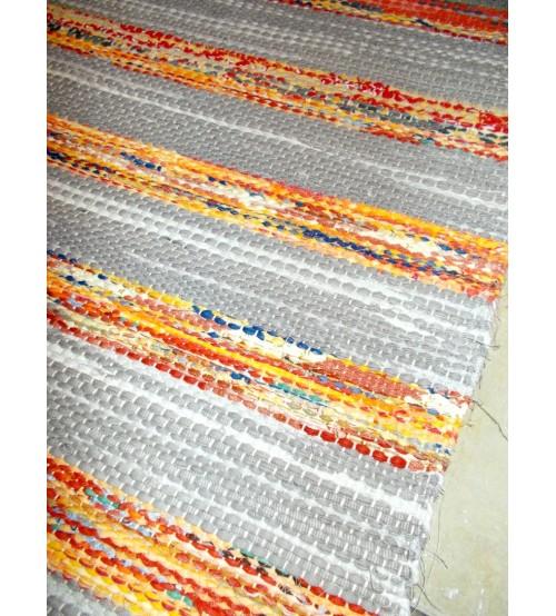 Vászon rongyszőnyeg szürke, sárga 70 x 160 cm