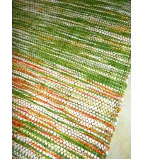 Vászon rongyszőnyeg zöld, sárga 70 x 100 cm