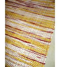 Vászon rongyszőnyeg sárga, nyers, bordó 70 x 100 cm