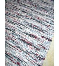 Vászon rongyszőnyeg szürke, bordó 70 x 150 cm