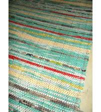 Vászon rongyszőnyeg kék, nyers, piros 70 x 140 cm