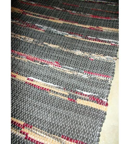 Vászon rongyszőnyeg szürke, bordó, barna 70 x 140 cm