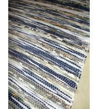 Vászon rongyszőnyeg kék, fehér, szürke 70 x 100 cm