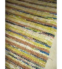 Vászon rongyszőnyeg zöld, barna, kék 70 x 100 cm