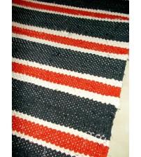 Vászon rongyszőnyeg fekete, piros, nyers 70 x 160 cm