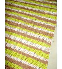 Vászon rongyszőnyeg zöld, barna, nyers 70 x 100 cm