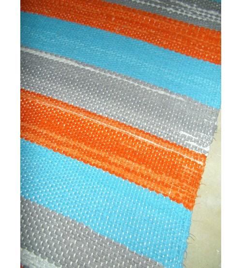 Vászon rongyszőnyeg kék, szürke, sárga 80 x 160 cm